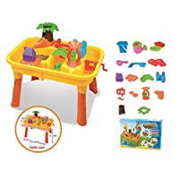 Vinsani® 25PC 2 Section Sand & Water Activity Play Table Set with Accessories for Kids