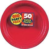 USA Produkt 7 60/Pk Big Party Pack - Juego de platos de plástico para fiesta, color rojo