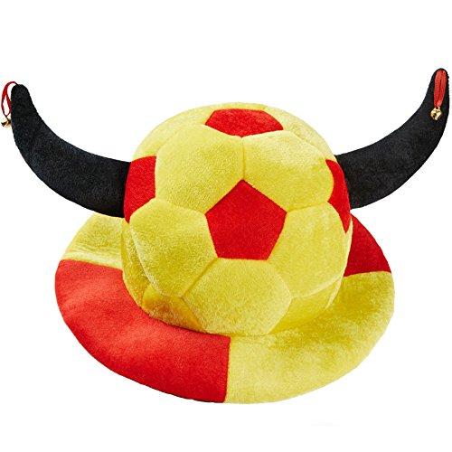 dressforfun 302057 - Fußball Fan Hut Espania, gelb-roter Hut in Fußballform, große Stoffhörner mit Glöckchen, ideal für Fußballveranstaltungen und Mottopartys Fußball-hut