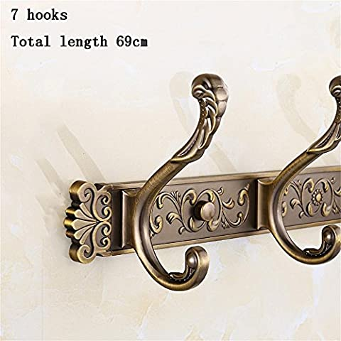 Jack Mall Antique Row Hook Wall Hangers Living Room Clothes Wall Hooks On The Toilet Living Room European-style Garden Hook Row ( Color : 7 Hooks