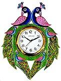CapioArt Wooden Handpainted Peacock Wall Clock for Home (Multicolor)