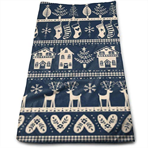 2369282c6d ERCGY Vintage Nordic Christmas Navy Face Hand Towels Microfiber Sport Towels  for Sports, Hair Care