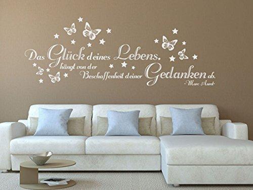 Wandtattoo-bilder® Wandtattoo Das Glück deines Lebens Nr 3 mit Schmetterlingen Wanddeko Wohnzimmer Dekoideen Wandsprüche Größe 140×50