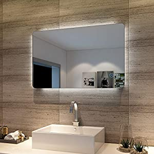 Badspiegel Lichtspiegel LED Spiegel Wandspiegel mit Sensor-Schalter 80 x 50cm kaltweiß IP44 energiesparend