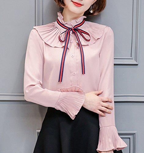 Smile YKK Chemisier Blouse Femme Mousseline de Soie T-shirt Chemsier Top Manches Longues Nœud de Papillon Rose