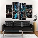 SMENGJIA Dekoratives Wohnzimmer-Wandkunst, Moderne Kunstdrucke, City Street Auto, Nacht, Kunstwerke, Poster, Bilder auf Leinwand, 30 x 40 x 2 x 30 x 60 cm, ohne Rahmen