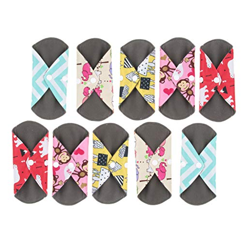 10X Atmungsaktiv Slipeinlagen Menstruation Pads Damenbinde für Frauen, Wiederverwendbar und Waschbar, mit Blumenmuster -