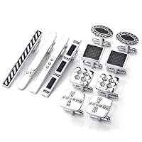 Zysta Set of 12pcs Stainless Steel Men's Classic Exquisite GQ Necktie Tie Clips Bar + Shirts Cufflinks Groom Wedding Business Shirt Men's Jewelry