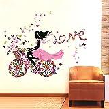 SYGA Colourful Flower Cycle Girl Wall Sticker High Wall Sticker