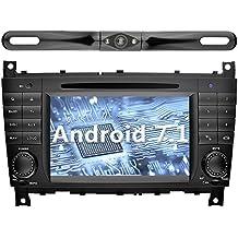 YINUO 7 Pollici Android 7.1.1 Nougat 2GB RAM 2 Din In Dash Quad Core Autoradio Schermo di Tocco Lettore DVD Navigatore GPS Per Mercedes-Benz C-Class W203 / Benz CLK W209 (Con Fotocamera Posteriore 5)