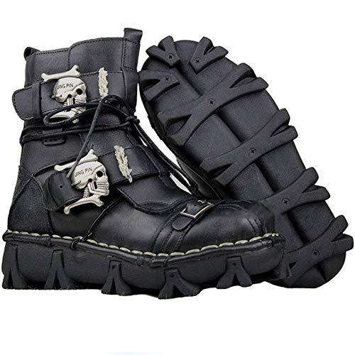 2019 New Mens Martin Boots Motorrad-Leder Werkzeugstiefel Männer es Military Boots Schoots Desert Boots Tipps Tide Schnee High Help Retro,Black,46EU Western Wellington Boot