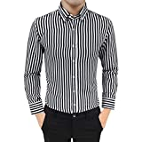Uomo Camicia Slim Fit Facile Stiro Cotone Maniche Lungo ASHOP Moda Men Shirts Slim Fit Casual Fashion T Shirt Uomo Nero L