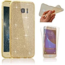 Galaxy S6 Edge Plus Funda Protectora Completa, Funda Protectora Completa Samsung S6 Edge Plus, SevenPanda 360 Grados Funda Protectora Delantera y Trasera Glitter Funda Protectora Antideslizante cubierta del Casco Funda Protectora Flexible Funda para Samsung Galaxy S6 Edge Plus - Dorado