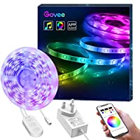 LED Strip Light, Govee Music Sync Phone APP Controlled RGB Rope Light, 5 Metre Waterproof RGB Lighting with Multi Colour for Indoor Outdoor Home Kitchen Cabinet TV Party Lighting Decoration