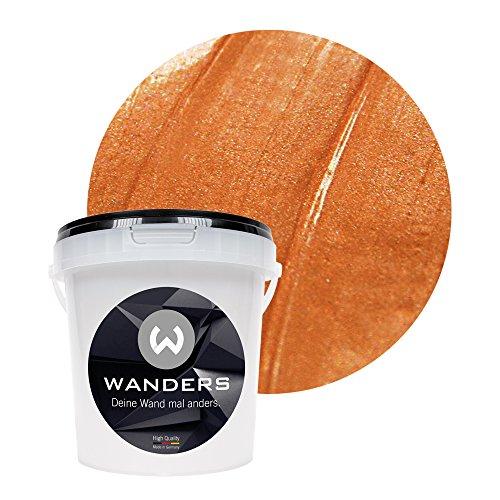 Wanders24® Metall-Optik (1 Liter, Bronze) Wandfarbe Metallic - zum Spachteln im Metallic Look - in 17 edlen Farbtönen erhältlich - Made in Germany