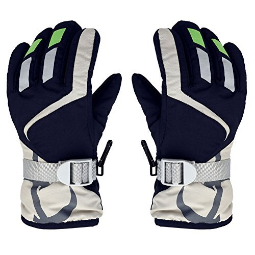 Children Ski Gloves, EBILUN Winter Full Finger Waterproof Warm Snowboard Gloves with Adjustable Strap for Outdoor Suitable for 3-5 Years Kids, Navy Blue