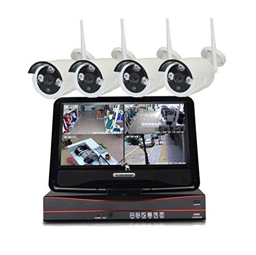 MTTLS IP Kamera 4 Kamera und Video Recorder Kit WiFi Sicherheitssystem Nachtsicht Kamera Wireless Security IP-Kamera Bildschirm Videokamera und 1 TB Video Festplatte