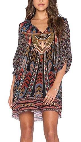 robe-chemise-femme-boheme-style-ethnique-imprime-vintage-avec-lacet-au-cou-marron-42