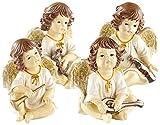 infactory Engel Deko-Figuren: Deko-Weihnachtsengel mit Musikinstrumenten im 4er-Set (Weihnachtsengel-Dekoration)