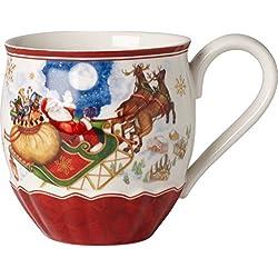 Villeroy & Boch 14-8332-4858 Tazón Toy's Fantasy, Motivo Vuelo de Santa, para Navidad, 450 ml, en Festivo Embalaje de Regalo, Porcelana, Multicolor, 14.0x14.0x11.0 cm