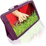 LuvTab ® LG G Pad (tablet de 8.3 pulgadas) Funda multifuncional con monedero angular / soporte para mantenerse en pie / se dobla / con bolígrafo 2 in 1 Stylus - Púrpura