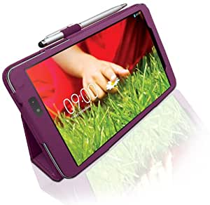 LG G Pad (8.3 inch) Custom Made Multi-Angle 'Pen' Case with Stand Function and 2 in 1 Stylus / Biro Pen by LuvTab® (Purple)