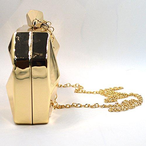 d95504a52db91 LAHAUTE Mode Damen Partys Clutches Abendtasche Umhängetasche Metallelement  mit abnehmbare Metall Kette Schnappverschluss Silber Gold ...