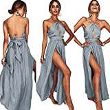 Longwu Frauen Sexy V-Ausschnitt Criss-Cross Halter Ärmelloses Bandage Party Cocktail beiläufige lange Kleid Grau-M