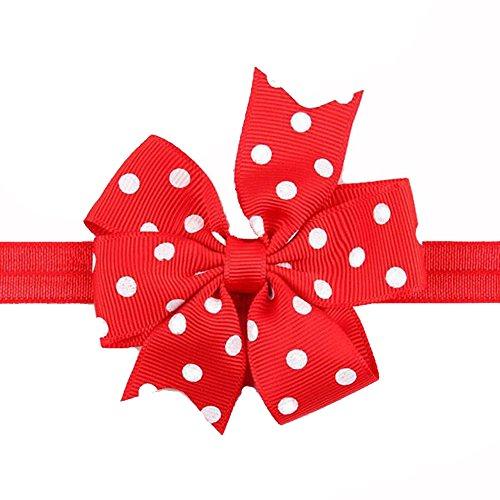 BELLAZAARA Girl Baby Ribbon Flower Red And White Polka Dots Bow Headband Hair Band