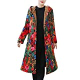 Xmiral Mantel Damen Gedruckte Retro Nationaler Stil Jacke Langer Dick Trenchcoat Slim Fit Winter Warm Übergröße Outwear Steppjacke(b Rot,L)
