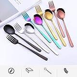 LULUKEKE Besteckset, 10-teiliges Edelstahl-Kutlery-Set, farbenfrohes Geschirr, Löffel und Gabeln für Haus und Küche