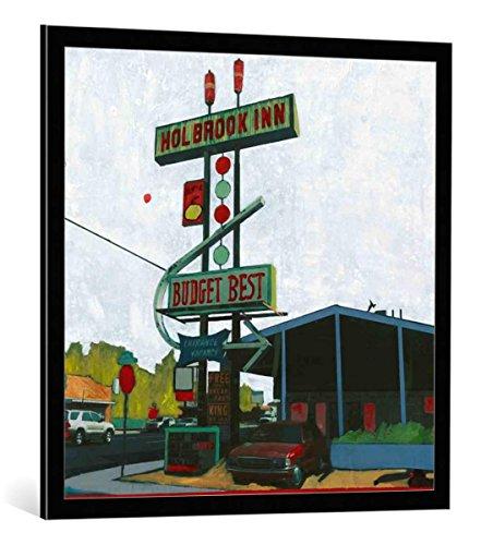 kunst für alle Bild mit Bilder-Rahmen: Ayline Olukman Holbrook Inn Motel Arizona - dekorativer Kunstdruck, hochwertig gerahmt, 80x80 cm, Schwarz/Kante grau