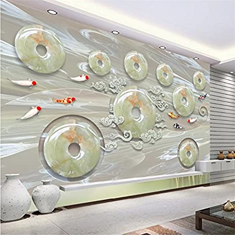 LWCX Custom 3D Wallpaper Chinese Wind New Chinese Marble 3D Jade Carving Background Wall Decoration