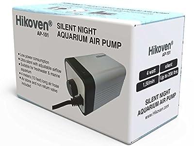 Hikoven Silent Night Quiet Aquarium Air Pump with Adjustable Air flow Complete Set - Air Stone Air Tube and Non Return Valve