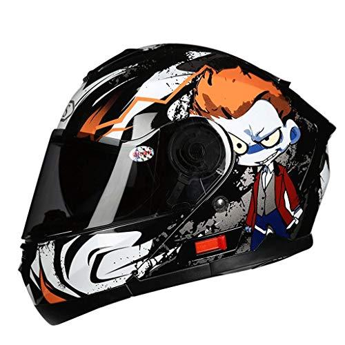 Casco Moto aerodinamico in Materiale ABS Design Casco Moto Casco Integrale Casco da Uomo Casco Four Seasons Casco Moto,Arancia,L