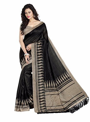 Gaurangi Creation Women\'s Art Silk Saree (MNB1103_Black_Free Size)