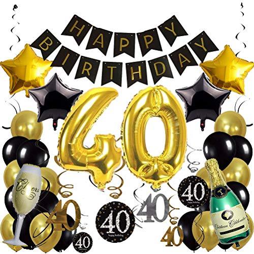 30 Stück Party Favors 40. Geburtstag schwarz und goldene Luftballons Set Raumlayout Party Deko Hochzeit Geburtstag Party Dekoration