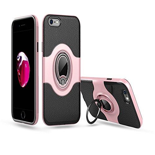 """iPhone 6 / 6S Ring Stand Coque, SHANGRUN TPU Gel Silicone Métal Rotation Intégrée Bague de Serrage Support Case Coque avec Béquille Housse Étui pour iPhone 6 / 6S 4.7"""" Blanc Rose Or"""