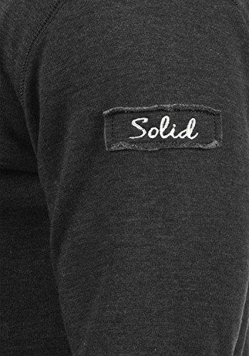 SOLID Trip-Zip Herren Sweatjacke Kapuzen-Jacke Zip-Hoodie mit optionalem Teddy-Futter aus hochwertiger Baumwollmischung Dark Grey mit Teddy-Futter