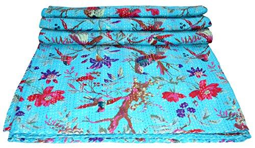 Yuvancrafts indischen Brid Print Twin Baumwolle Kantha Quilt Überwurf Decke Tagesdecke Gudari -