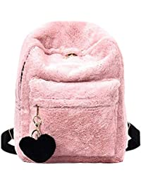 e6f2cac898f3 REFURBISHHOUSE Women Soft Faux Fur Plush Backpack Shoulder Bag Fluffy  School Bag with Heart Pendant (