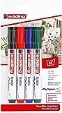 edding 4500 Textil-Marker - 4er Blister - Standard Farben - Rundspitze 2-3 mm - Zum Bemalen von Textilien (wie z.B. T-Shirt, Kissen, Beutel) - Textilfarbe waschmachinenfest bis 60°C