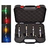 4anzuelos iluminados para pesca de carpa Hirisi Tackle® con indicador rojo/amarillo/verde/azul en estuche con conector para alarma de pesca