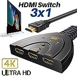 4K HDMI Switch uranny 4K HDMI Splitter, 3Ports, HDMI-Switch Splitter unterstützt Full HD 3d 4K 1080p-DVD-/Sat-/Xbox 360-/PS3/PS4/Nintendo Wii U