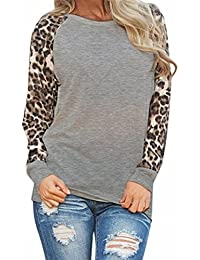 SHOBDW Primavera mujeres moda moda leopardo blusa manga larga camiseta Tops oversize