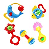 Mumustar Rattle Toy Hand bell Musical Education Percussion Instrument Set 5Pcs For Baby Kids Infant Learning Playing Recreation School Supply Tools