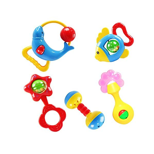 Mumustar Rattle Toy Hand bell Musical Education Percussion Instrument Set 5Pcs For Baby Kids Infant Learning Playing Recreation School Supply Tools 1