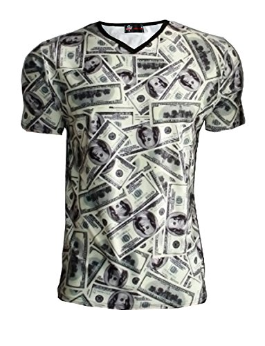 oui-m-franklin-imprime-de-billets-de-100-shirt-a-col-en-v-vert-medium