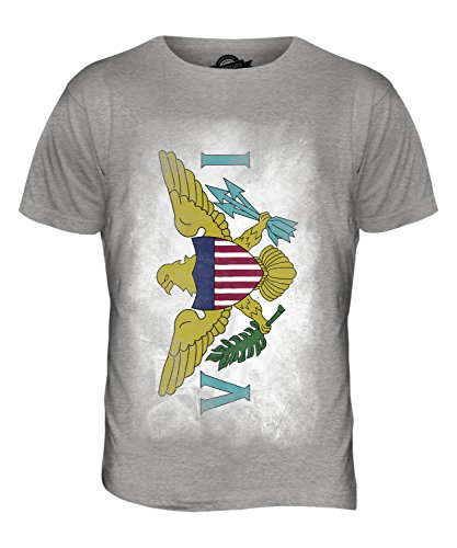 CandyMix Amerikanische Jungferninseln Verblichen Flagge Herren T Shirt Grau Meliert