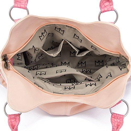 ManuMar Borsa a mano da donna, mod. Bella, 36x 25x 11cm, bianco/grigio (bianco/grigio) - MM6001 rosa pink